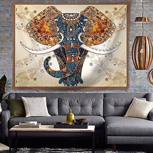 OATHENE Mandala Bohemian Psychedelic Bless Elephant Indian Tapestry Wall Hanging for Bedroom Living Room Home D cor Polyester 80W x 60L inches 1504
