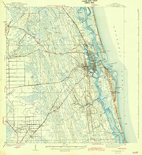 YellowMaps St Augustine FL topo map, 1:62500 Scale, 15 X 15 Minute, Historical, 1943, 19.9 x 18.4 in - Polypropylene