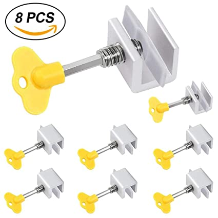 8 piezas de seguros deslizantes ajustables de aleación de aluminio con llave para ventanas correderas y