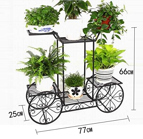 European - style balcony flower frame creative bicycle iron flower stand living room multi - storey flower racks ( Color : Black )
