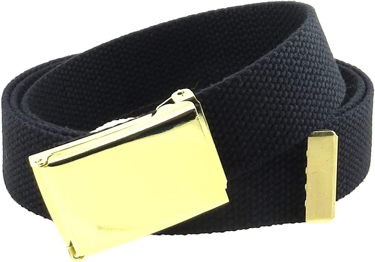 Canvas Web Belt Flip-Top Brass Plate Buckle//Tip Solid Color 50 Long