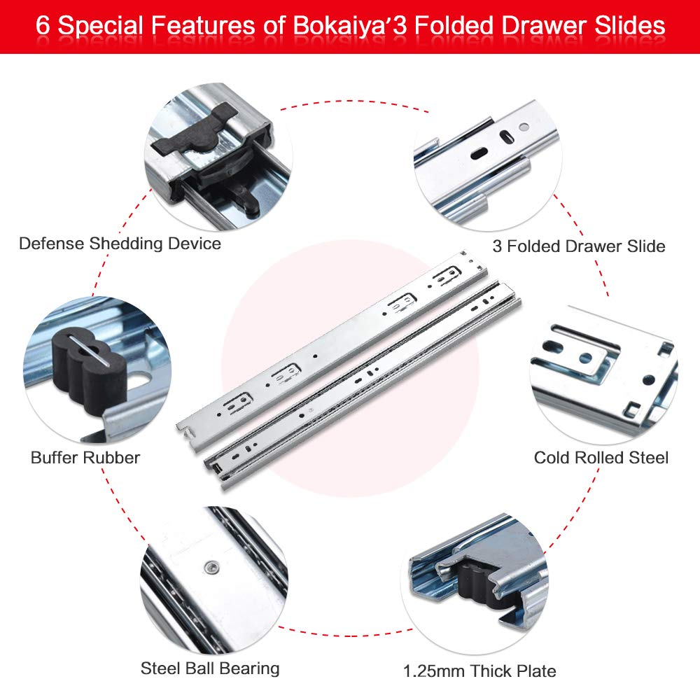 Bokaiya 5 Pair of 18 Inch Full Extension Side Mount Ball Bearing Sliding Drawer Slides, Available In 10'', 12'', 14'', 16'', 18'' and 20'' Lengths by Bokaiya (Image #3)