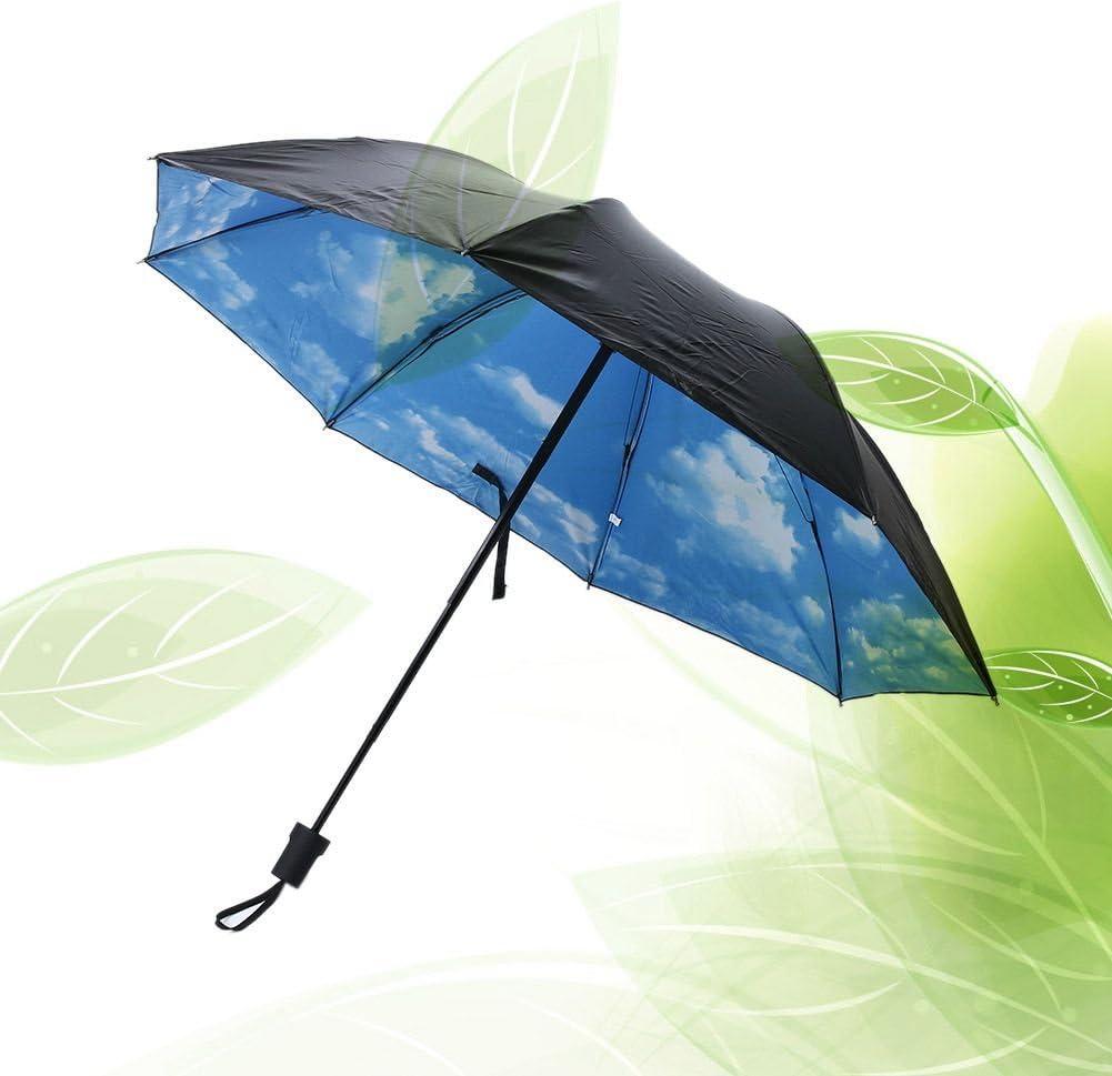 TOOGOO Parapluie DEte Pliant Parapluies Anti-UV Anti-Pluie Parasol de Protection Solaire Parapluie a Imprime de Ciel Bleu Nuage Blanc des Femmes