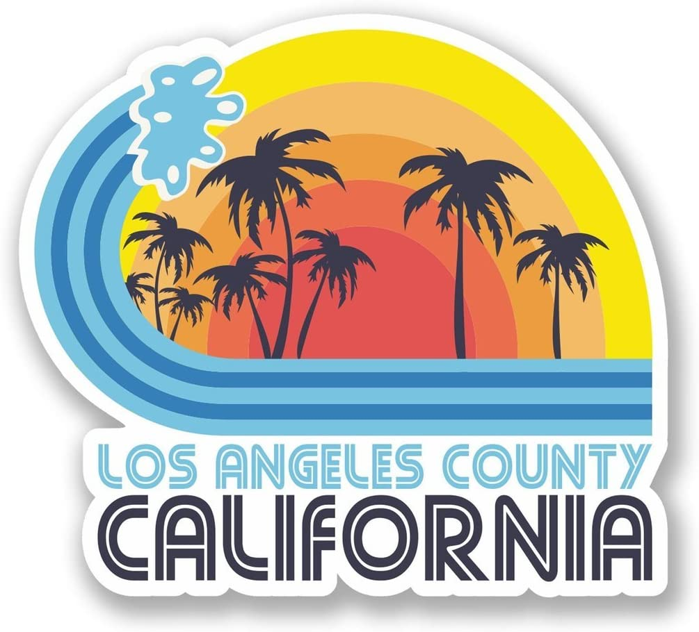2 x 10cm/100mm Los Angeles California Vinyl Sticker Decal Laptop Travel Luggage Car iPad Sign Fun #5825