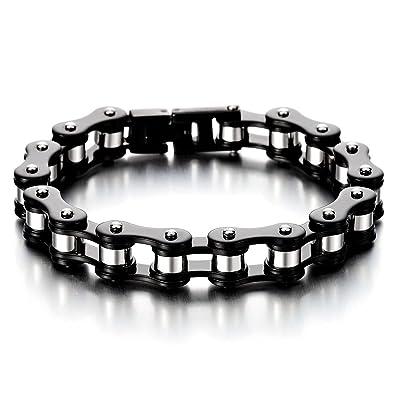 COOLSTEELANDBEYOND Masculin Noir Argent Deux Tons Bracelet en Acier  Inoxydable pour Homme - Bracelet Chaîne de e138f56f88e6