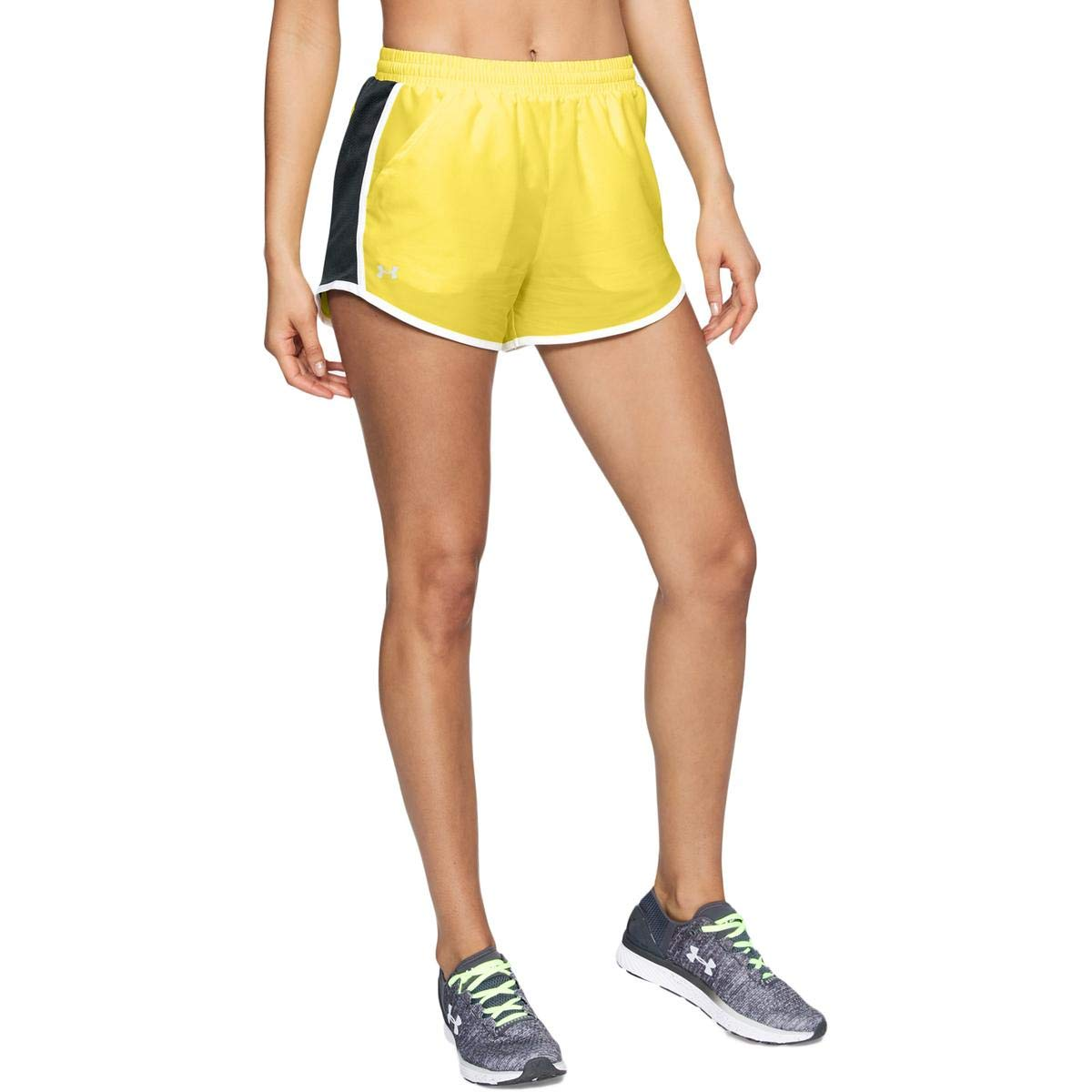 Under Armour Women's Fly-By Shorts, Tokyo Lemon /Reflective, XX-Small