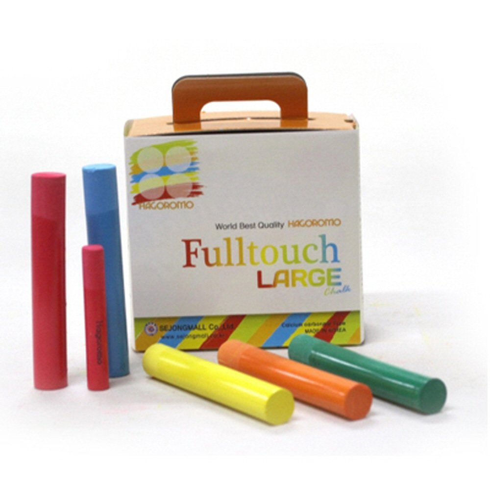 Hagoromo Fulltouch 5-Color Mix Large Chalk 1Box (15pcs) Red, Yellow, Blue, Green, Orange