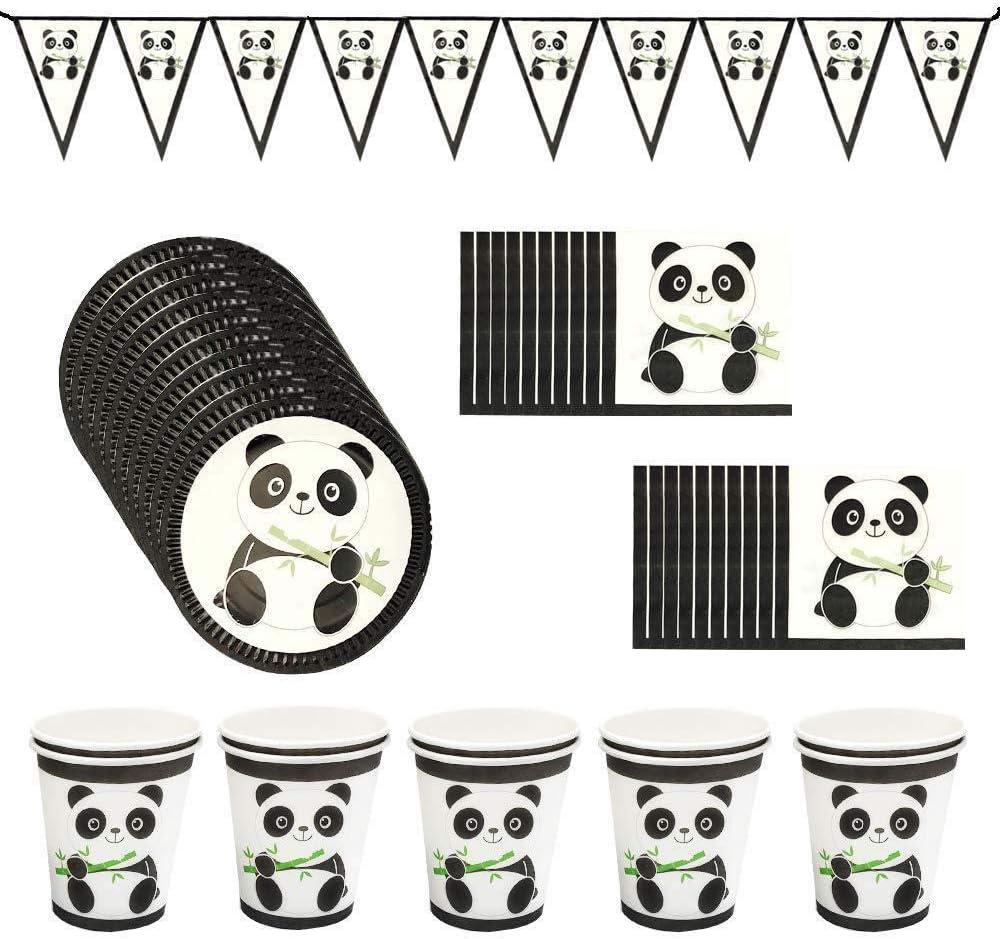Fung Panda Party Supplies Panda Disposable Tableware Panda Birthday Banner Paper Cups and Plates Cute Panda Party Tableware Decor Set