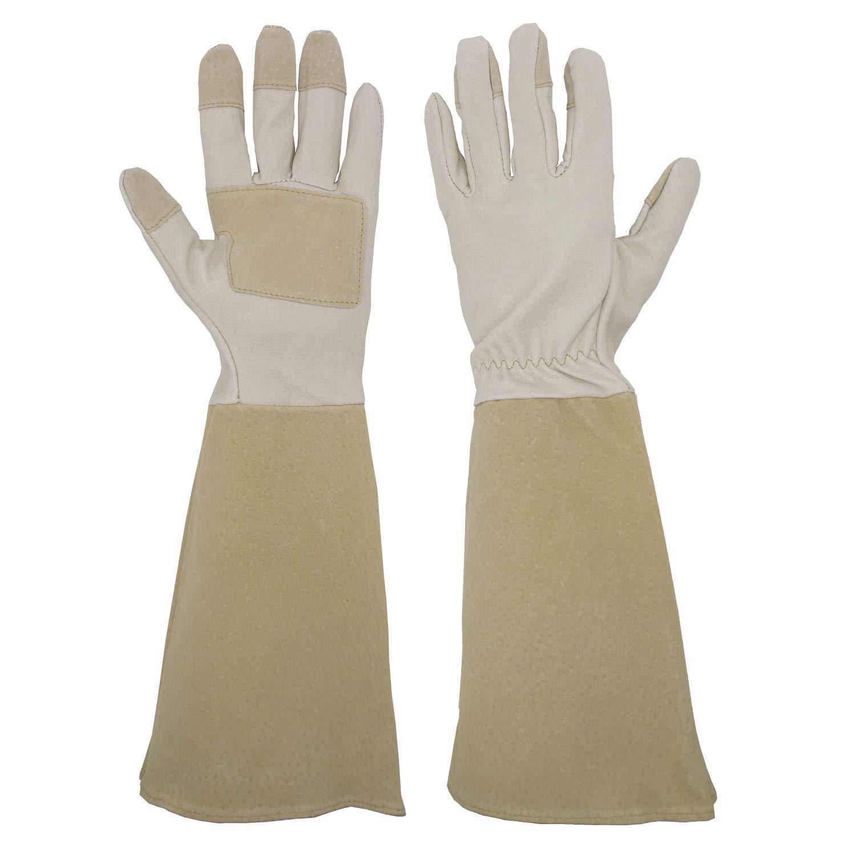 Pruning Gloves Long for Men & Women, Pigskin Leather Rose Gardening Gloves- Breathable & Durability Gauntlet Gloves Medium