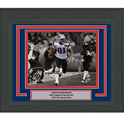 f373dd16d09 Image Unavailable. Image not available for. Color: Framed Autographed/Signed  Aaron Hernandez New England Patriots ...
