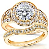 Forever Brilliant Art Deco Moissanite and Diamond Bridal Ring Set 2 Carat (ctw) in 14k Yellow Gold