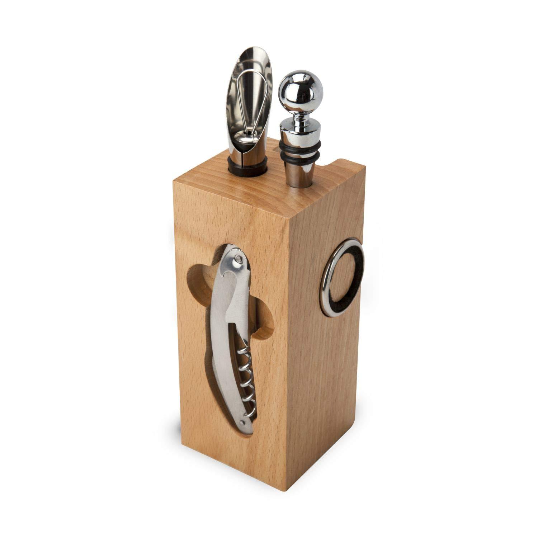 ROMINOX Geschenkartikel Weinaccessoires // Buche Block – Weinzubehör 7-teilig, Block mit Sommeliermesser, 2 Tropfringe, Weinthermometer, Flaschenverschluss, Ausgießer; Maße: ca. 7 cm x 7 cm x 22 cm
