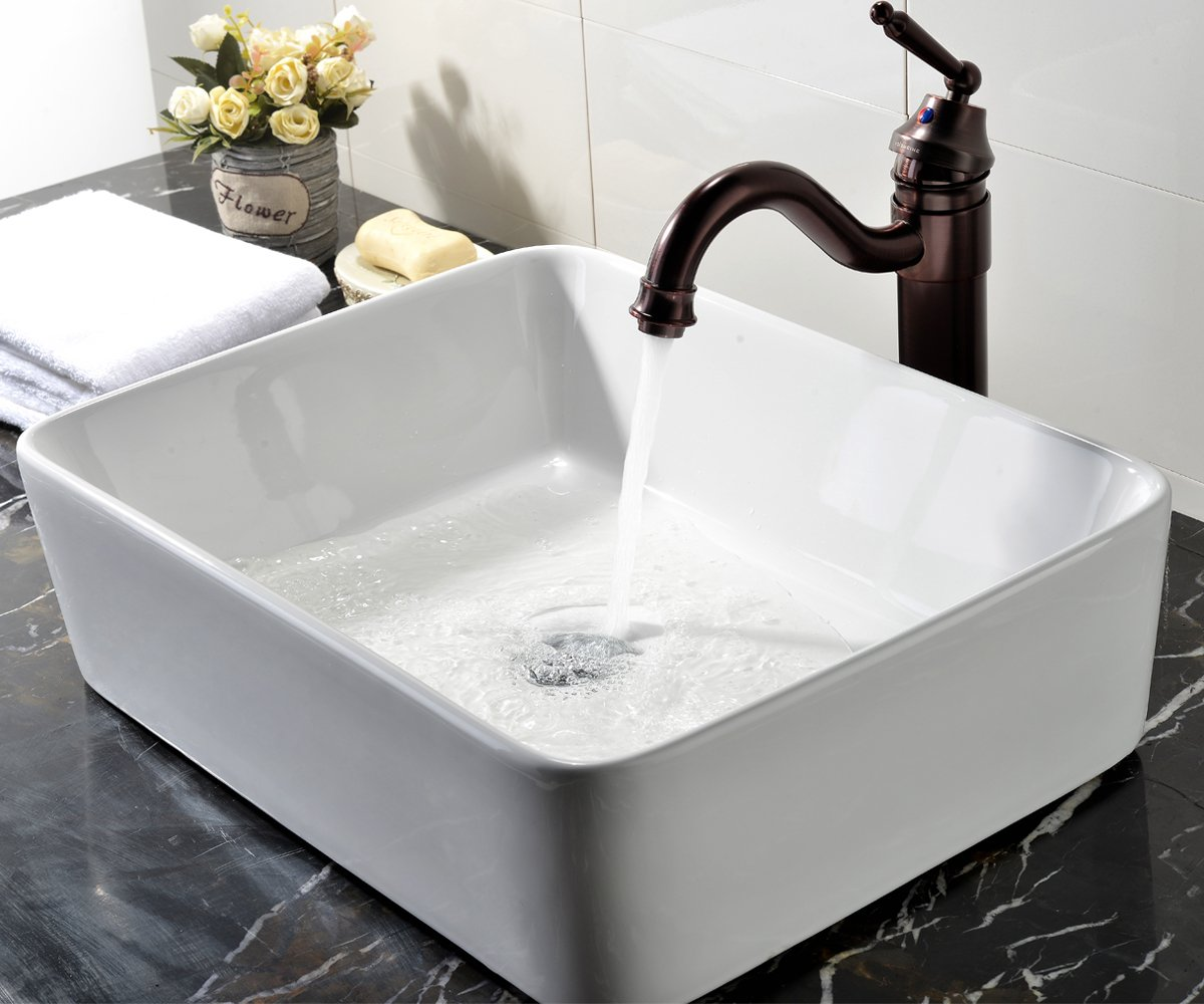 Rectangular Bathroom Sinks Vccucine Rectangle Above Counter Porcelain Ceramic Bathroom Vessel