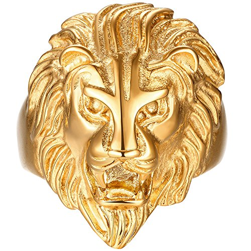 Thin Style Ring Stackable Carved (LWLH Mens Vintage 316L Stainless Steel Gold Lion Head Heavy Metal Rock Punk Style Gothic Biker Ring Band Szie 9)