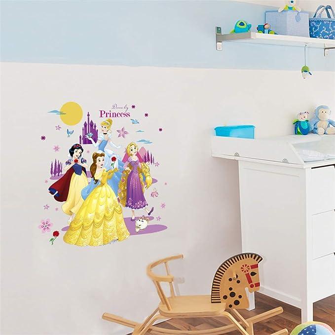 ufengke Princess Wall Stickers 3D Scroll Wall Decals Art Decor For Girls Kids Bedroom Nursery