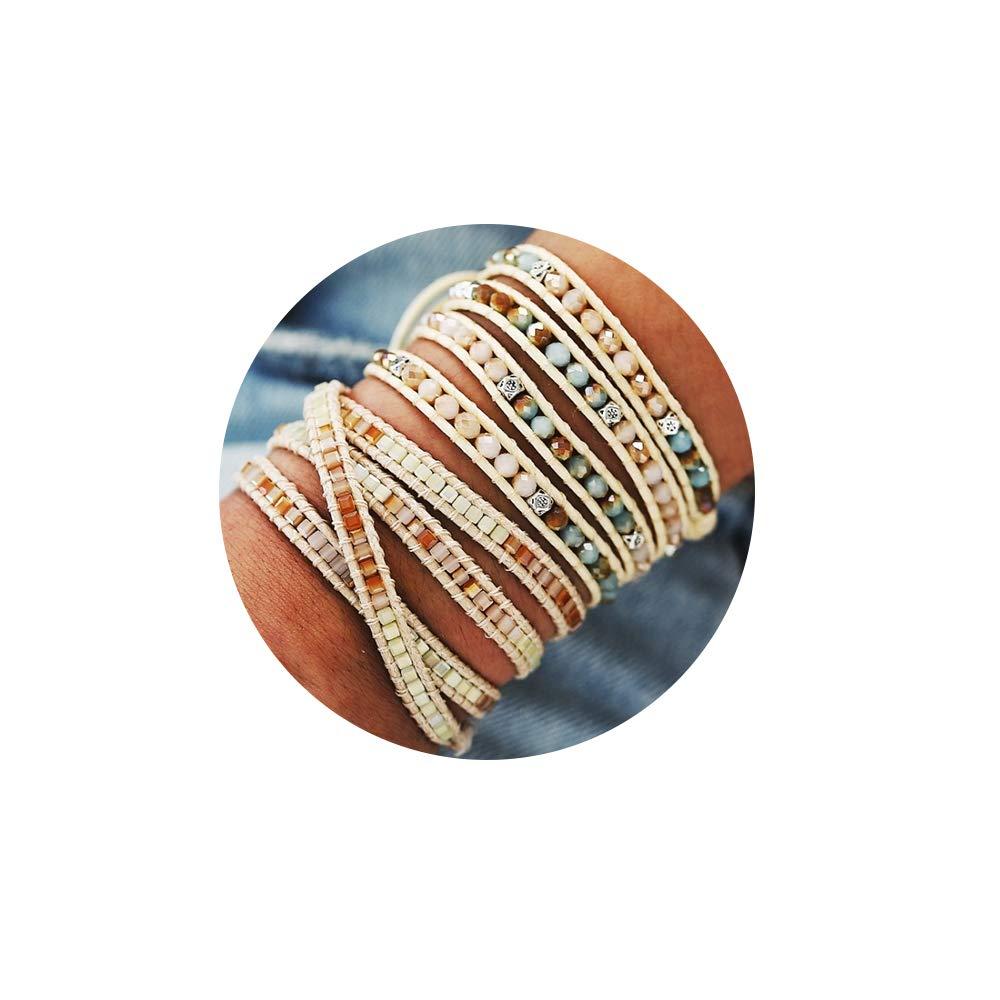 17mile Braided Rope Strand Bracelet Set Handmade Acrylic Beads Weave Wrap Bracelet for Woman Girls by FINETOO