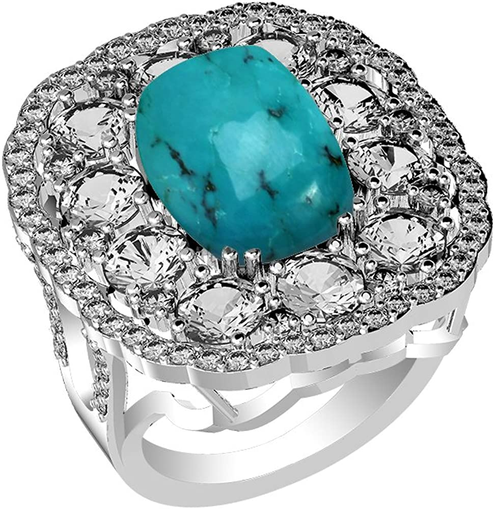 5.60ct Genuine Turquoise Cushion /& .925 Silver Overlay Cocktail Rings