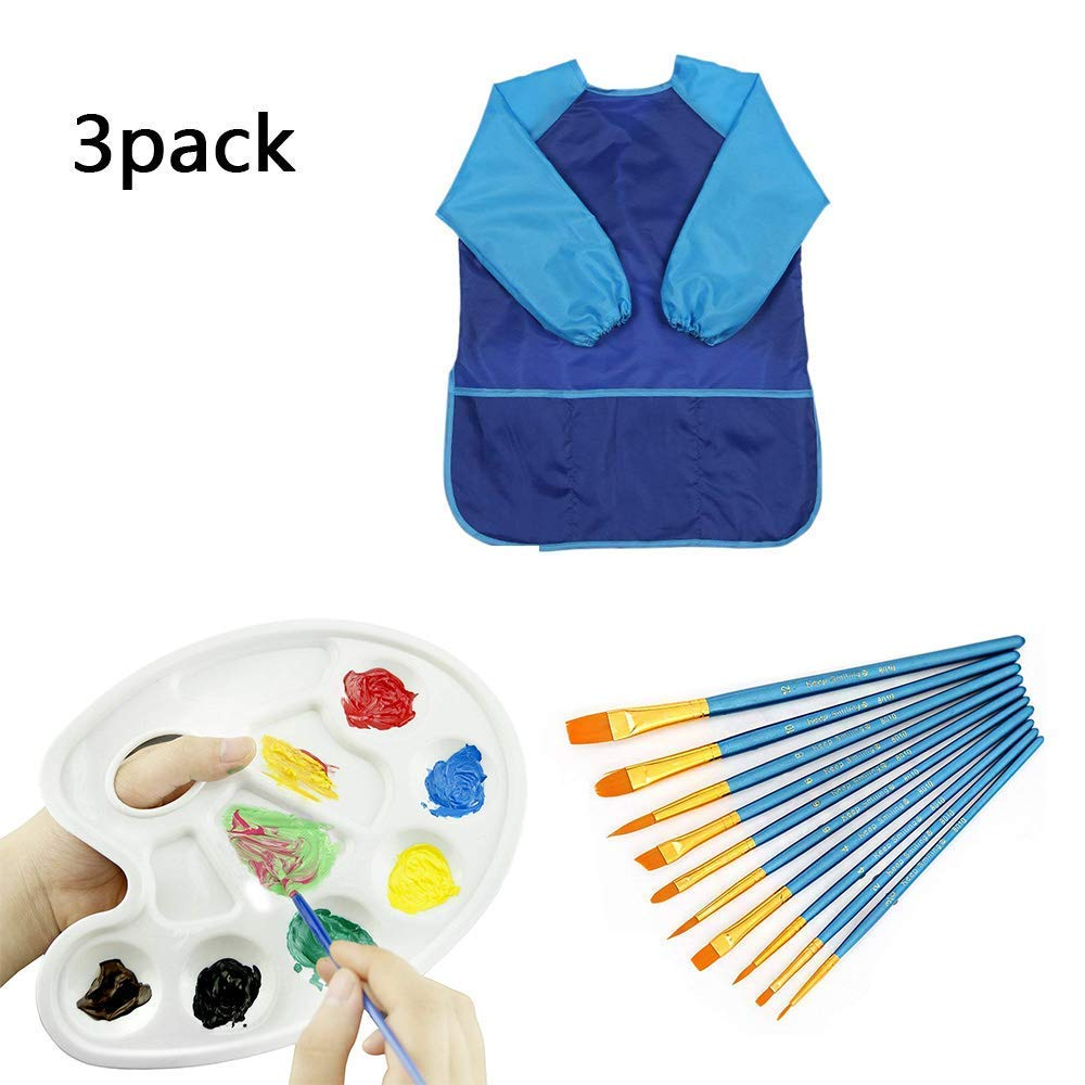 NuuMo Children's Art Smock Waterproof Painting Apron with Long Sleeve 3 Pockets for Age 3-8 Years with 10 Paint Brush and Paltte (Blue style 01)