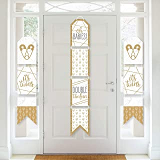 product image for Big Dot of Happiness It's Twins - Hanging Vertical Paper Door Banners - Gold Twins Baby Shower Wall Decoration Kit - Indoor Door Decor