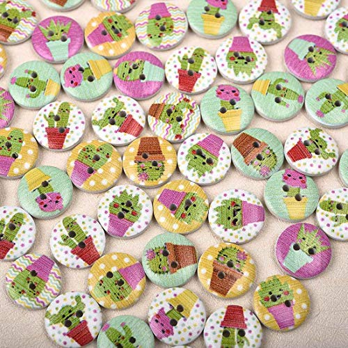 50Pcs Mixed Style Buttons Bakelite Clothing Crafts Sewing 2 Holes Buttons (Buttons-Pattern - Cactus) - Bakelite Cream