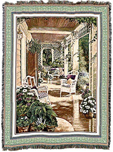 Pure Country Weavers | Vintage Comfort Woven Tapestry Throw Blanket with Fringe Cotton USA 72x54 ()
