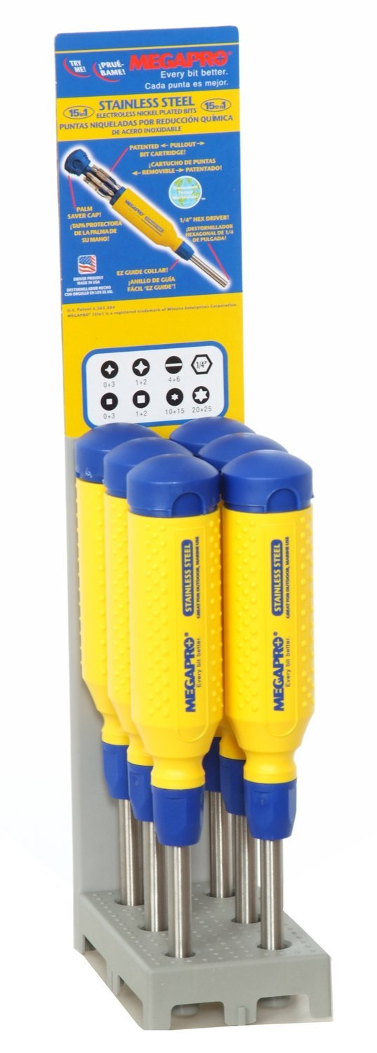 Megapro 151SS-PDM-S Display 15-in-1 Stainless Steel Driver, Yellow/Blue, 6-Piece