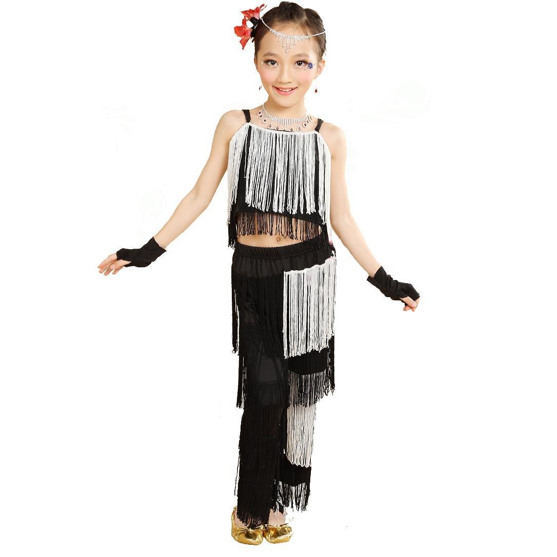 Noir and blanc Wgwioo Enfants Concours de Pratique de Danse Latine Pantalons de Gomme de Perforhommece pour Filles Ensemble de Classe de Test Ensemble de Groupe L