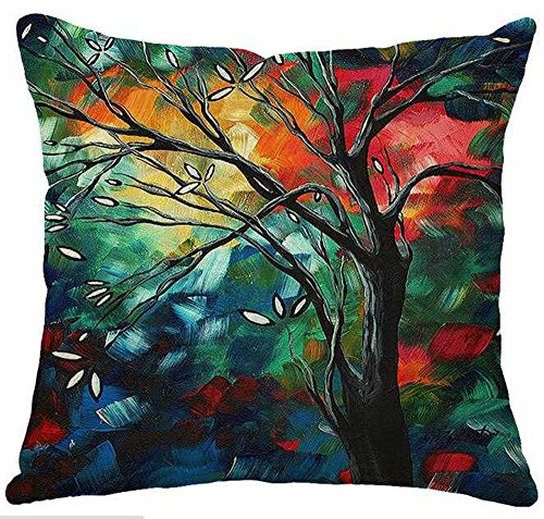 Oil Painting Hundreds of Birds Cotton Linen Throw Pillow Case Cushion Cover Home Sofa Decorative 18 X 18 Inch(3) ()