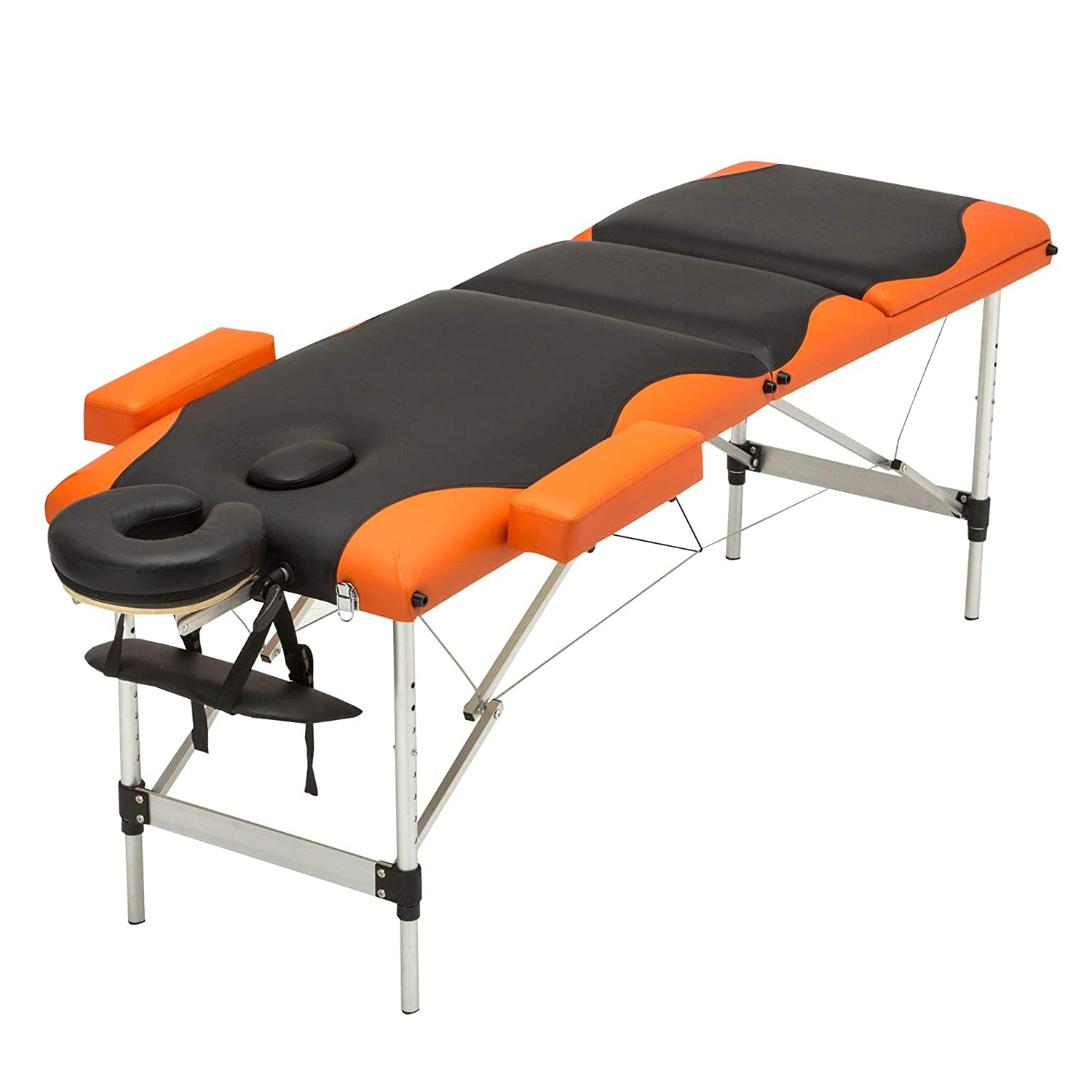 Uenjoy Folding Massage Table 84 Professional Massage Bed Aluminum Frame With Accessories 3 Fold,Black Orange Alu