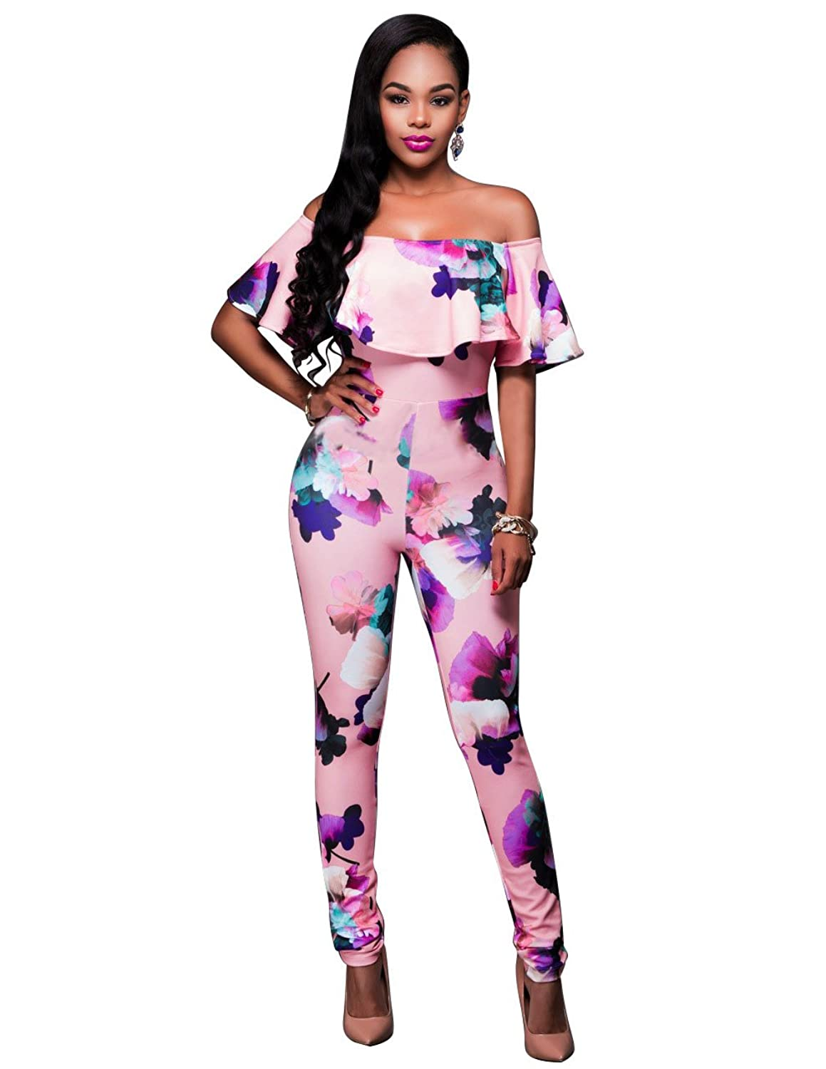 Sophia17 Women Plus Size Ruffle Off Shoulder Floral Print Long Jumpsuit Romper