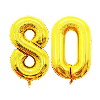 GOER 42 Inch Gold Number 80 BalloonJumbo Foil Helium Balloons For 80th Birthday Party