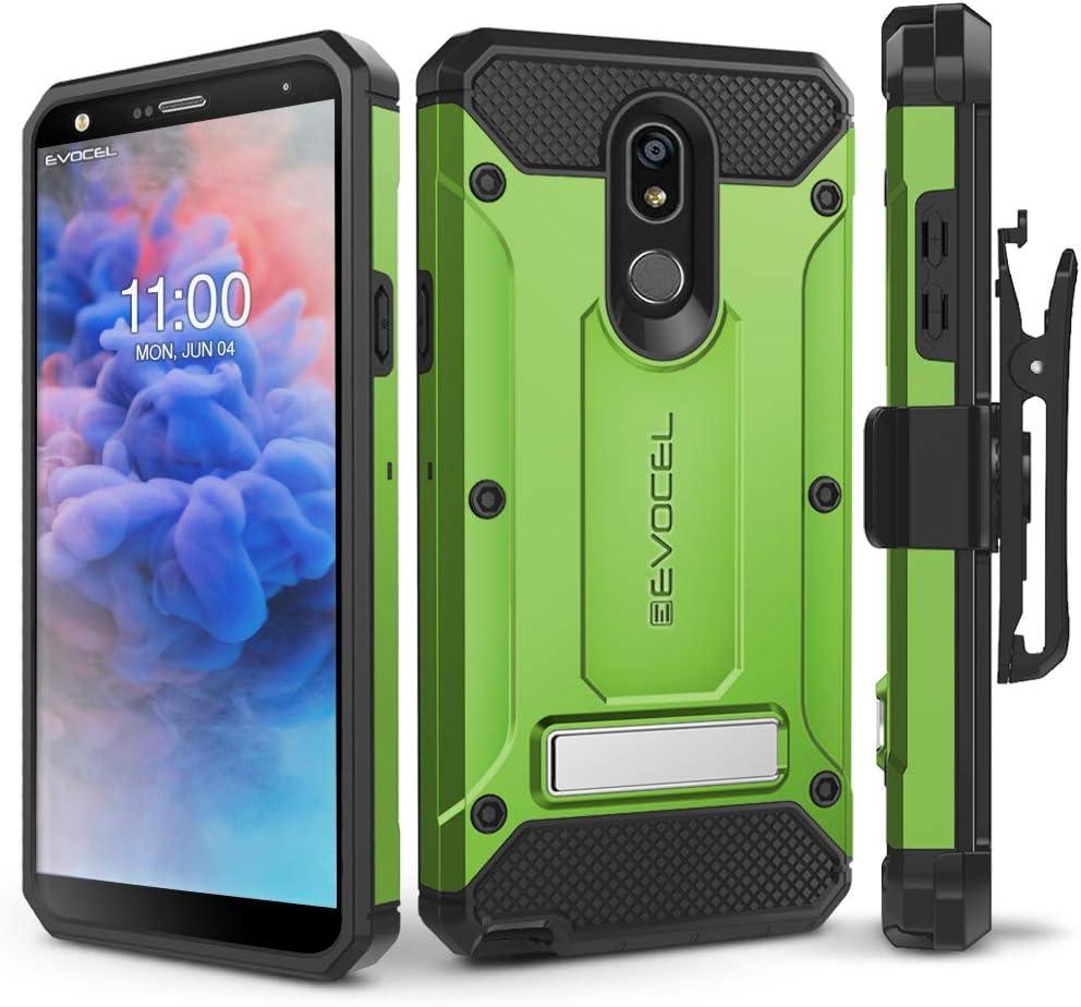LG Stylo 5 Case, Evocel [Explorer Series Pro] Premium Full Body Case with Glass Screen Protector, Belt Clip Holster, Metal Kickstand for LG Stylo 5, Green