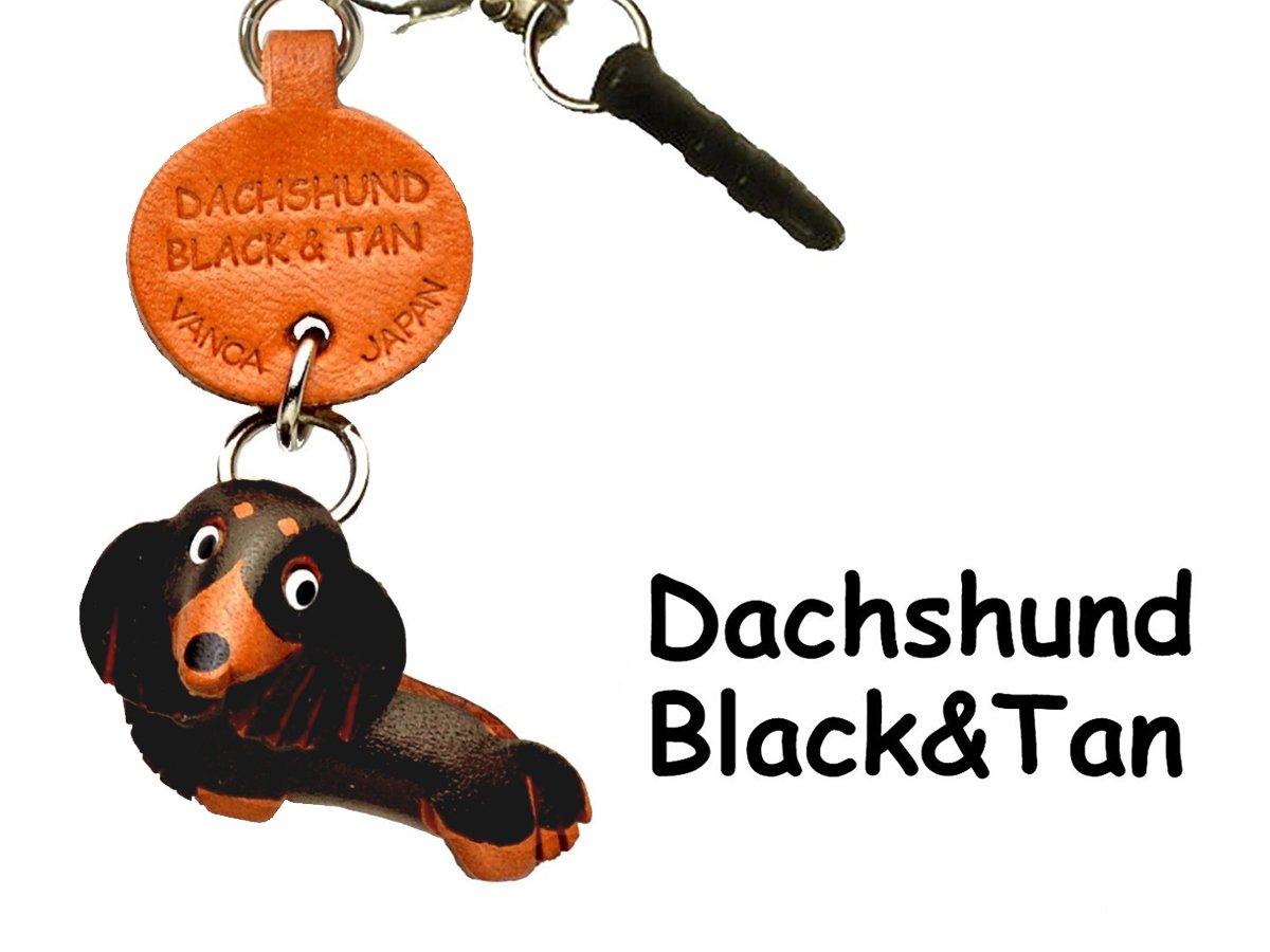 Dachshund long hair Black&Tan Leather Dog Earphone Jack Accessory / Dust Plug / Ear Cap / Ear Jack *VANCA* Made in Japan #47771