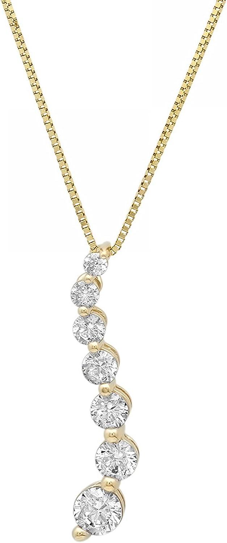 Clara Pucci 2.20 CT Brilliant Round Cut Simulated Diamond 14K Yellow Gold Solitaire Pendant Box Necklace 16 Chain