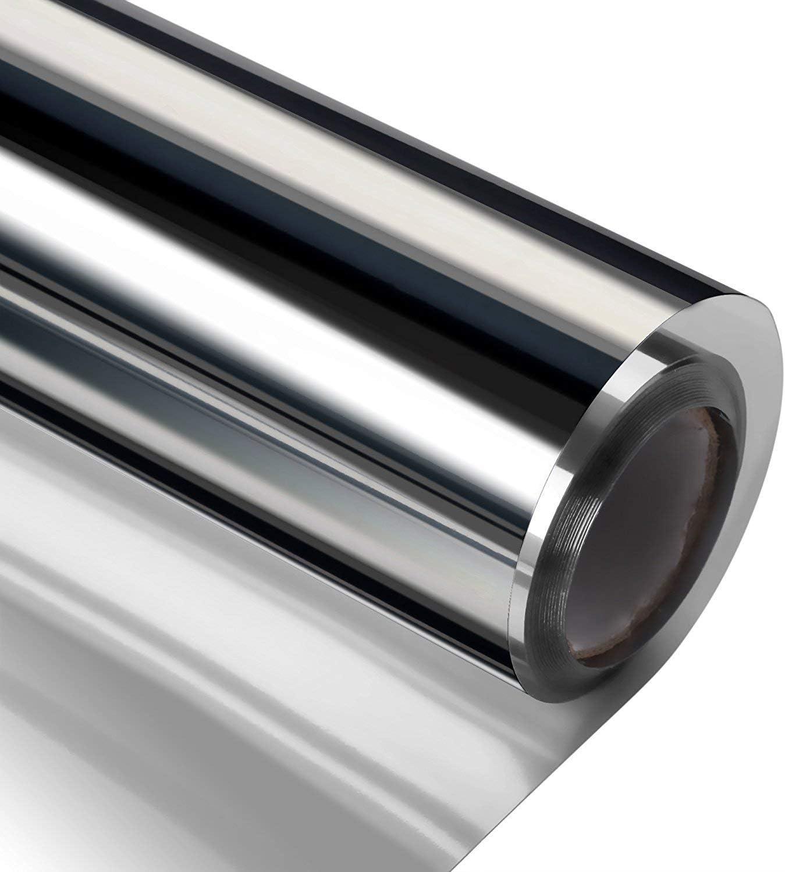 窓用ガラスフィルム 目隠しシート ガラス用 窓用 マジックミラー UVカットシート 無接着剤 遮光 遮熱 断熱 プライバシー ガラスフィルム 水で貼り付け めかくしフィルム (ブラック, 90cmX250cm)