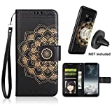 Galaxy S9 Case, Galaxy S9 Wallet Case with Detachable Slim Case, Card Solts Holder, Fit Car Mount,CASEOWL Mandala Flower Floral Embossed Vegan Leather Flip Lanyard Wallet Case for Galaxy S9[Black]