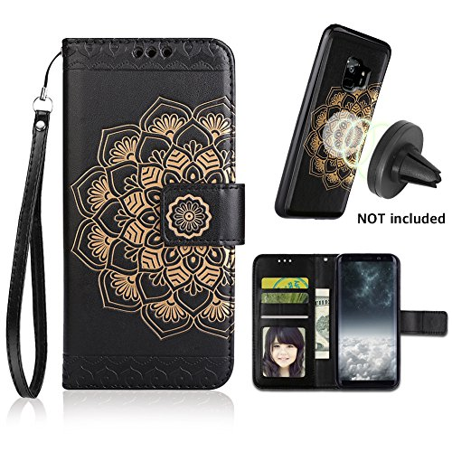 Galaxy S9 Case, Galaxy S9 Wallet Case with Detachable Slim Case, Card Solts Holder, Fit Car Mount,CASEOWL Mandala Flower Floral Embossed Vegan Leather Flip Lanyard Wallet Case for Galaxy S9[Black] by CASEOWL
