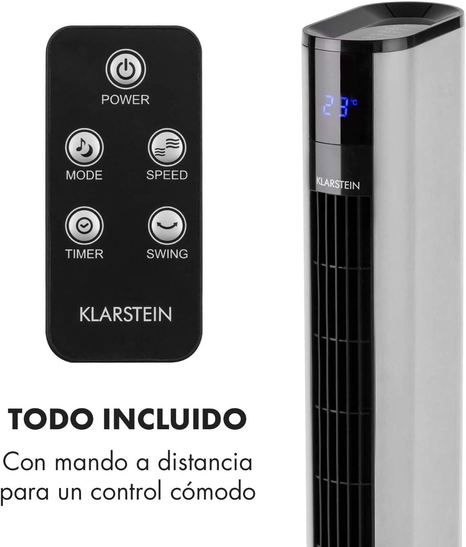 De pie Klarstein Skyscraper 3G Ventilador de Torre Plata Mando a Distancia Filtro Integrado 50 W Bajo Consumo Funci/ón oscilaci/ón Programable