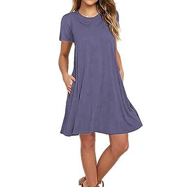 512f420eae4e Naokenu Women Short Sleeve Swing Dress with Pockets Casual Loose T-Shirt  Dress (Purple