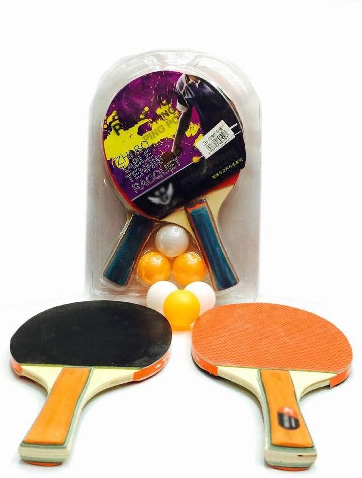 KDXBCAYKI Bates De Tenis De Mesa Gruesos, Tablero De Ping-Pong De Goma Positivo Y Negativo, 2 Tiros, 3 Pelotas, Juego De Raquetas De Tenis De Mesa