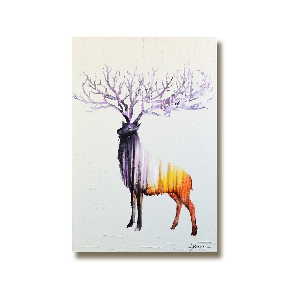 Modern Large Wall Art Abstract Animal Elk Decoration Painting on Canvas 100% Hand Painted Framed Minimal Deer and Forest Artwork Vertical for Home Living Room Bedroom Ready to Hang 24x40 inch