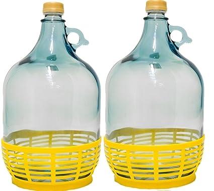 2 pieza 5L Cristal Globo con plástico cesta Vino Globo gärballon Botella de cristal entrega gratuita