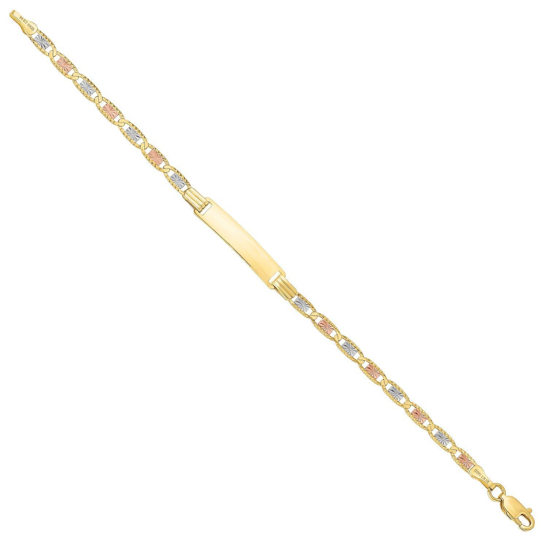MCS Jewelry 14 Karat Three Tone, Yellow Gold, White Gold and Rose Gold Baby ID Bracelet (Length: 6.25'')