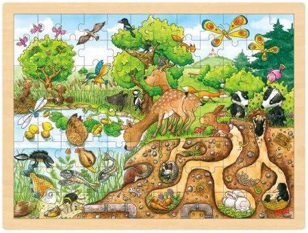 Goki Juego de mesa PUZZLE DE MADERA 96 piezas Modelo DESCUBRIR LA NATURA 30 x 40 cm Niños +5 años: Amazon.es: Juguetes y juegos
