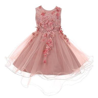 9ade96221d5 Little Girls Dusty Rose 3D Floral Appliques Hi-Low Tulle Flower Girl Dress 2