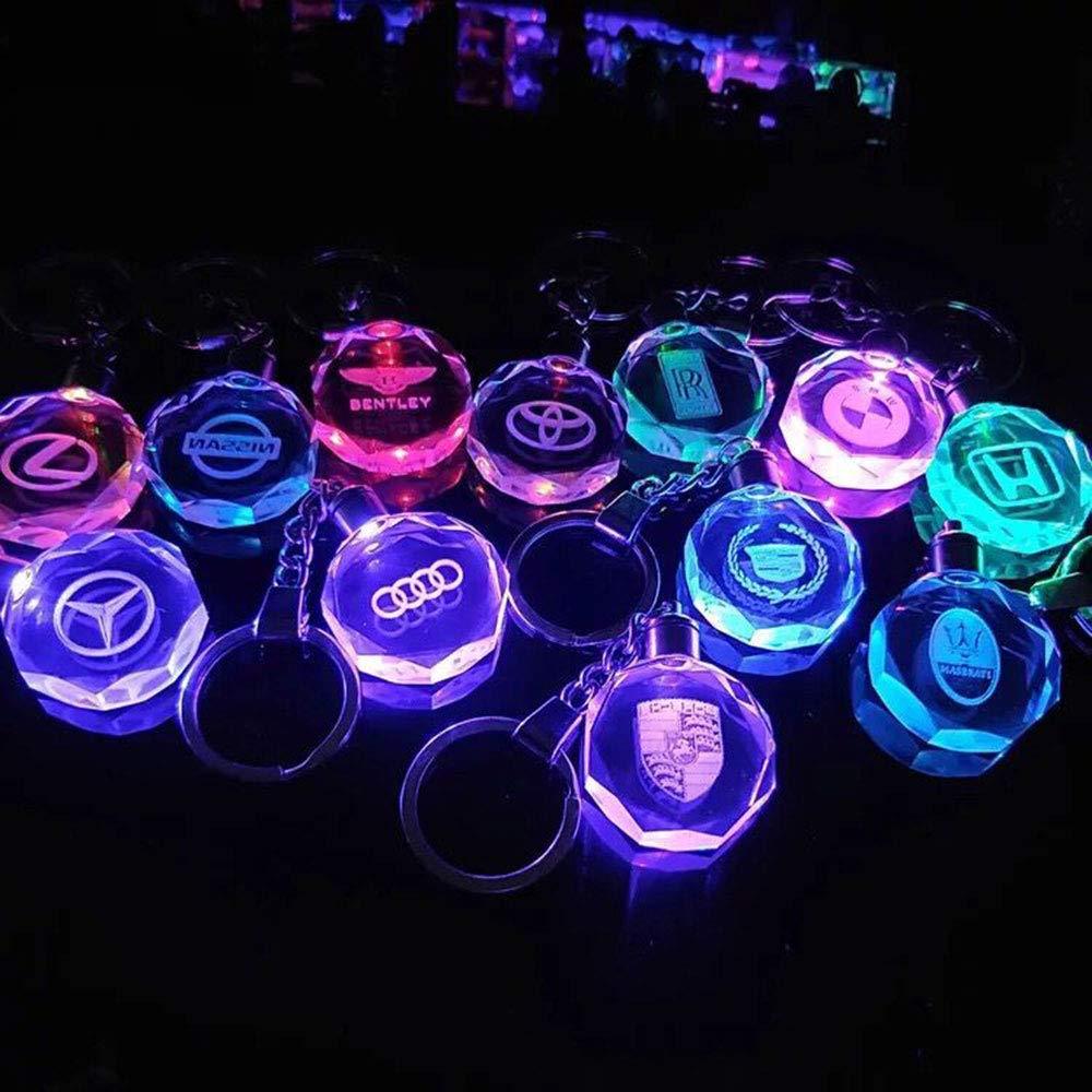 Fitracker con luz LED de cristal Llavero con logo de coche 2018 con caja de regalo