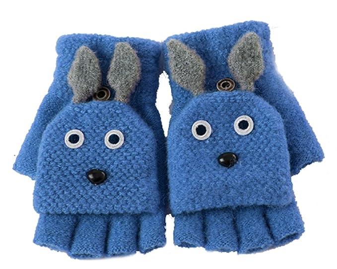 Women Girls Cartoon Rabbit Convertible Flip Top Gloves with Mitten ...