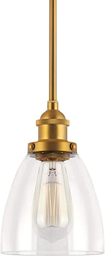 Kira Home Porter 8 Industrial Farmhouse Mini Pendant Light Clear Glass Shade, Adjustable Height, Warm Brass Finish