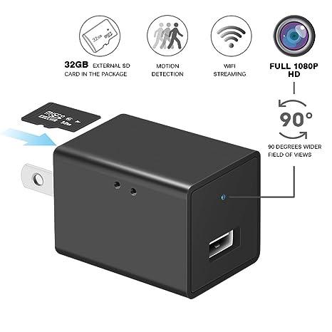 Cámara espía oculta de batería adaptador, WiFi HD 1080P Mini USB cargador de pared Adaptador inalámbrico ...