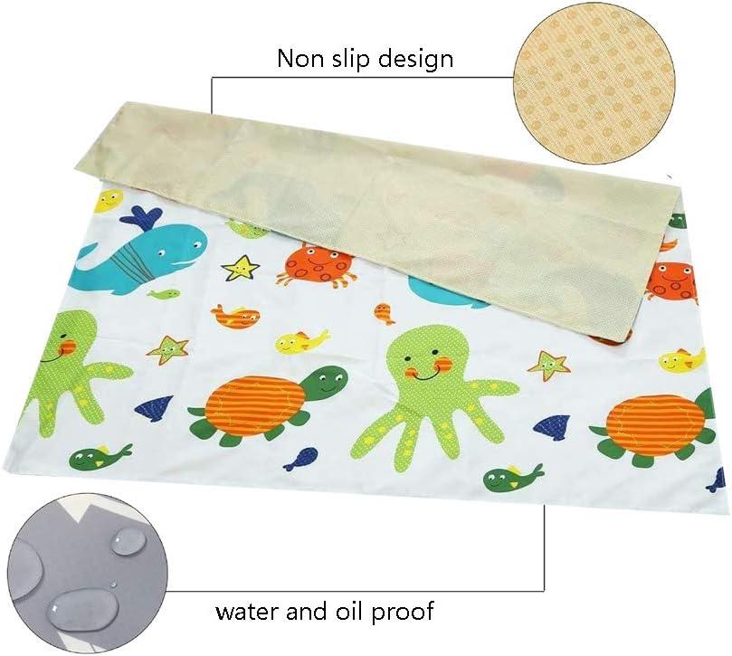 Washable Floor Protector Mat and Table Cloth Baby Highchair Splash Mat 51 Waterproof Washable Splat Mat Anti-Slip Floor Mat for Eating Mess Ocean
